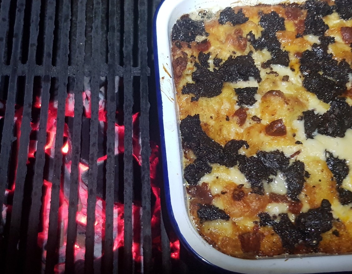 Black pudding hash brown casserole